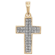 9ct yellow Gold 0.1ct Diamond set cross pendant pd120